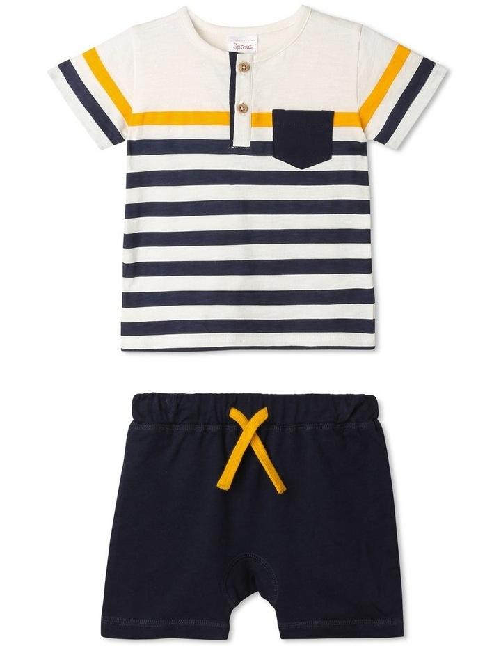 Hudson Stripe Henley Tee & Short Set image 1