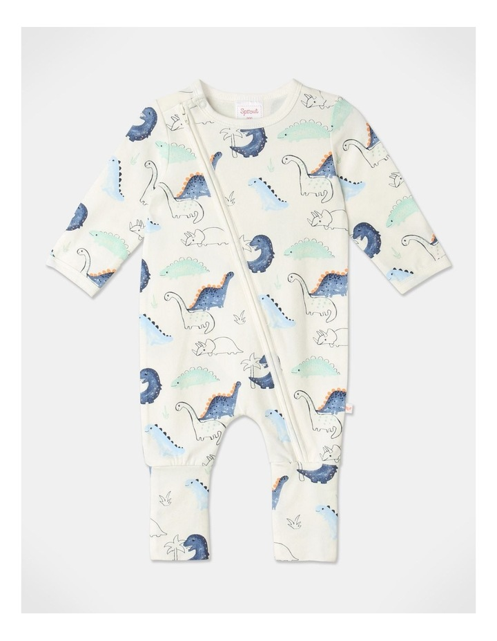 Organic Essential Dino Coverall Set in White image 2
