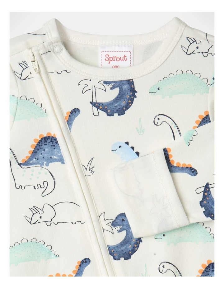 Organic Essential Dino Coverall Set in White image 3