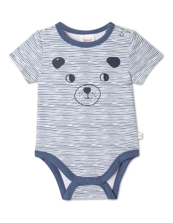 Organic Essential Mid Blues Bear Face Bodysuit image 1