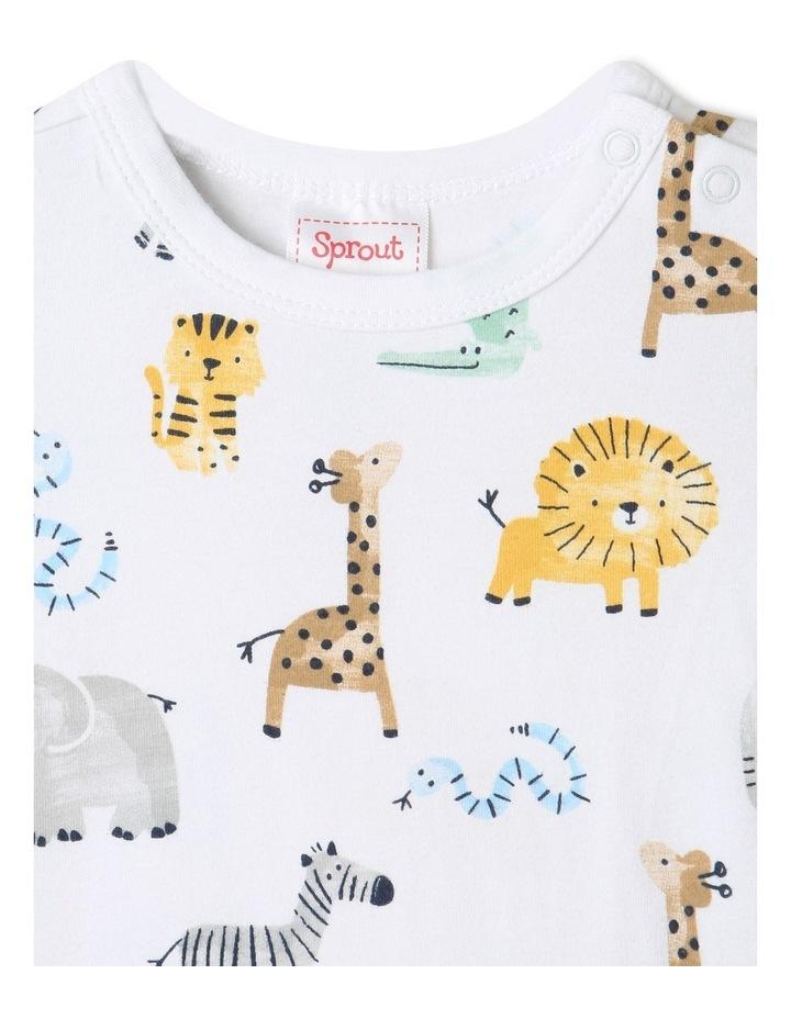 Organic Essential Safari Animals Bodysuit White image 2
