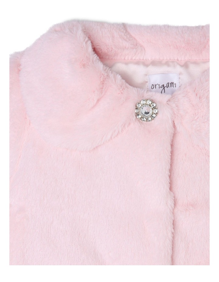 Ruby Shimmer Faux Fur Jacket (3-8 Years) image 2