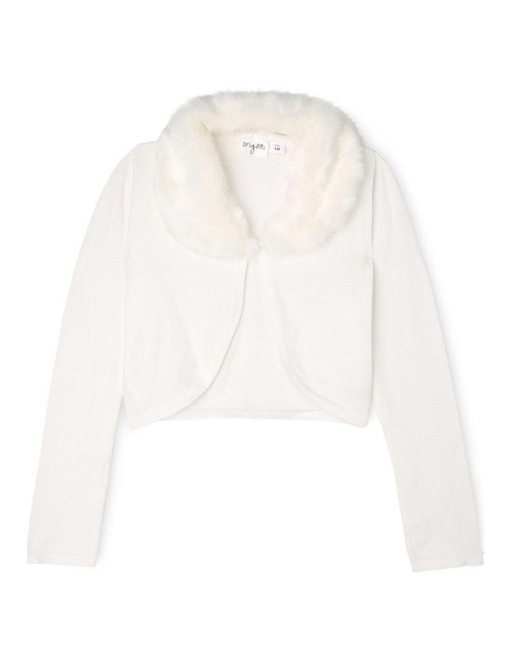 Faux Fur Collar Cardigan - Pearl 9-16 image 1