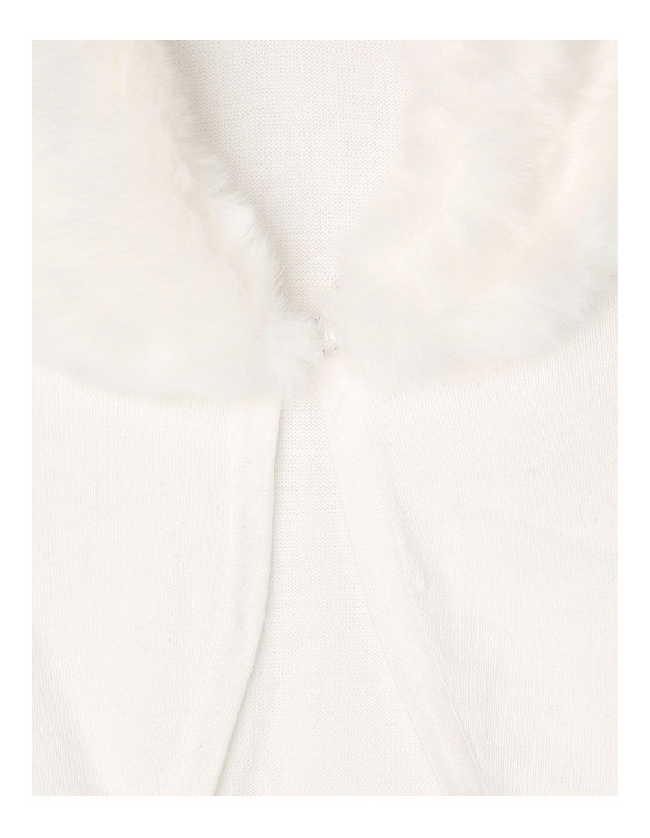 Faux Fur Collar Cardigan - Pearl 9-16 image 2