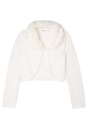 Origami - Faux Fur Collar Cardigan - Pearl 9-16
