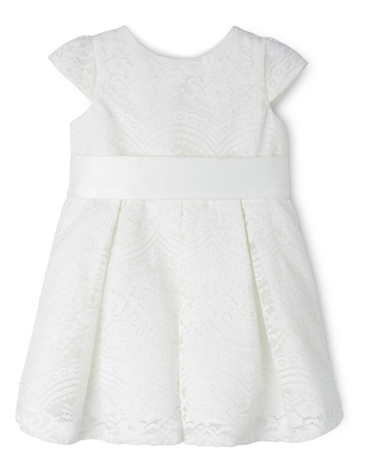 Tg Lace Pleated Flower Girl Dress With Waist Sash 0-2 image 1