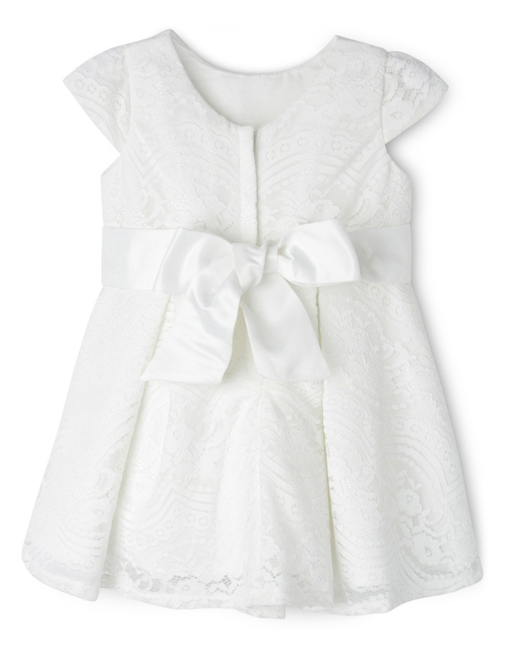 Tg Lace Pleated Flower Girl Dress With Waist Sash 0-2 image 2