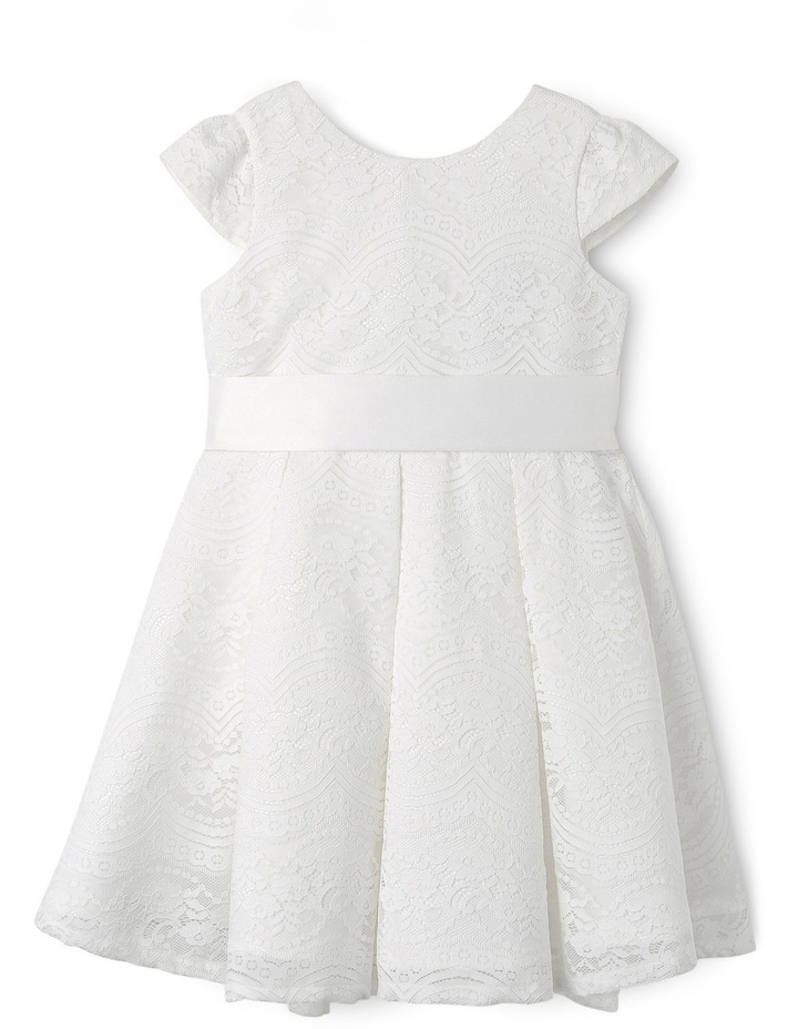 Jg Lace Pleated Flower Girl Dress With Waist Sash 3-8 image 1