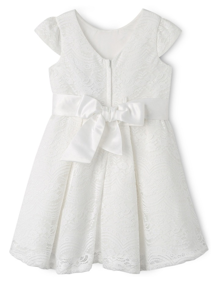 Jg Lace Pleated Flower Girl Dress With Waist Sash 3-8 image 2
