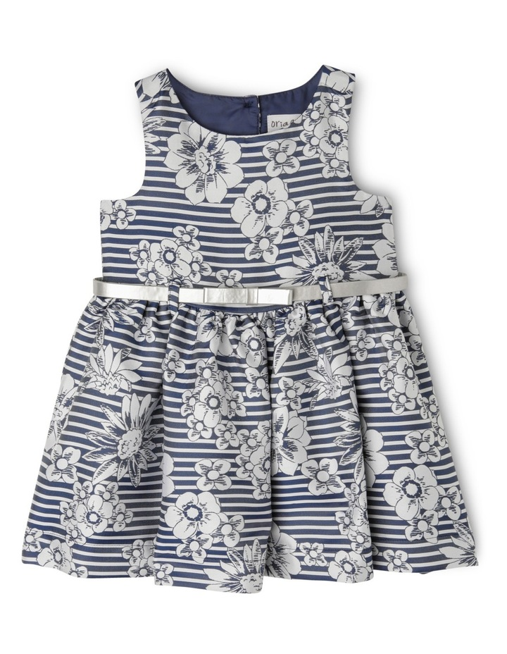 Floral Jacquard Dress With Silver Belt - Navy image 1