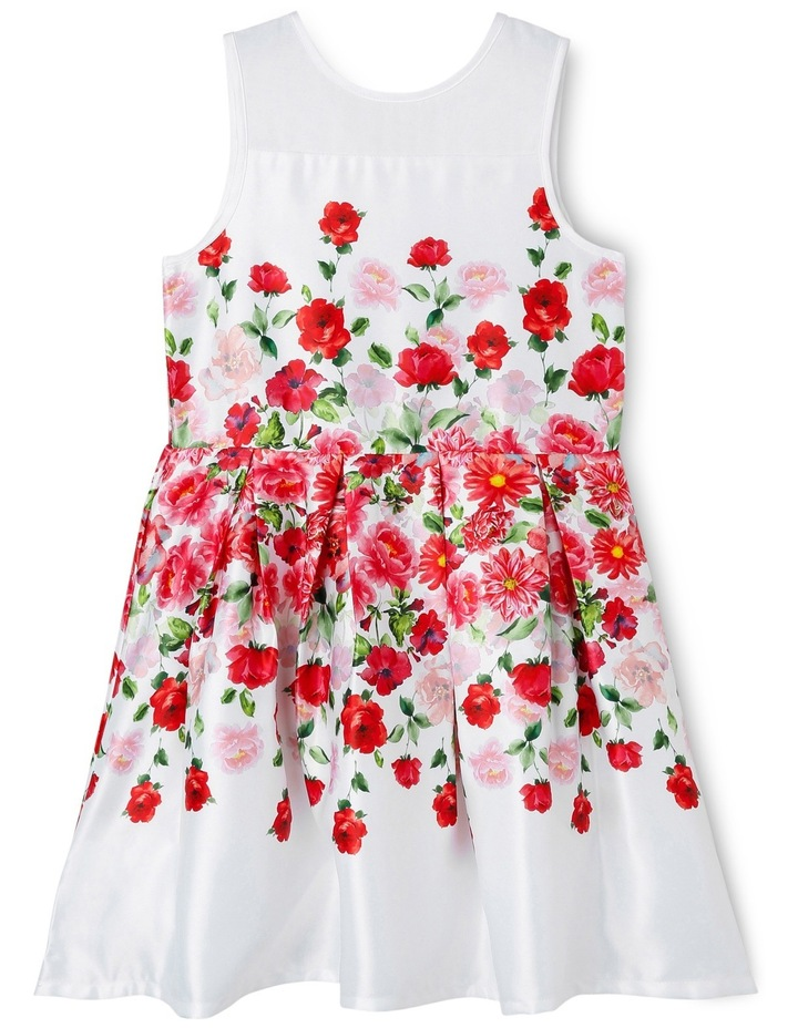 Red Floral Waist Print Dress With Organza Insert image 1