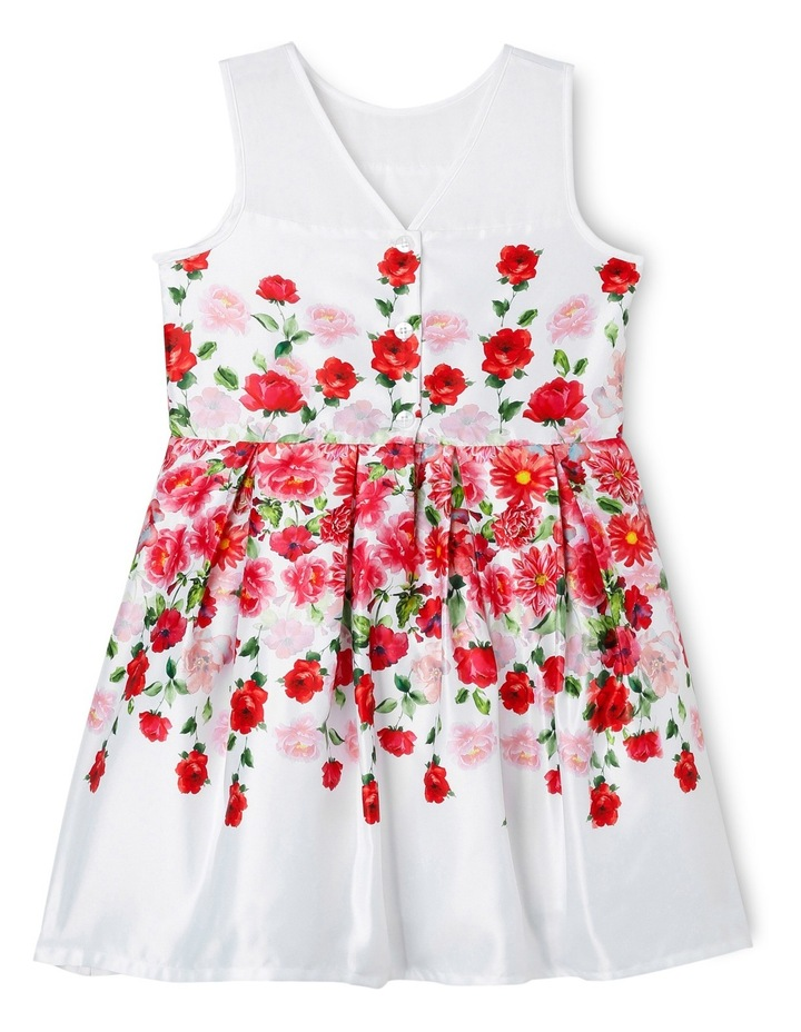Red Floral Waist Print Dress With Organza Insert image 2
