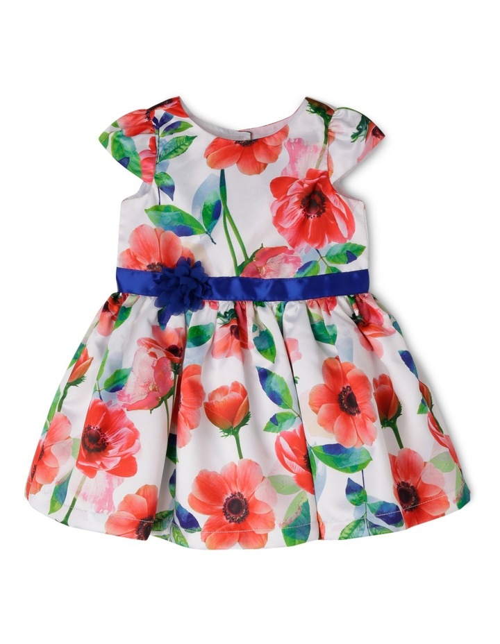 Cap Sleeve Poppy Print Dress With Rosette image 1