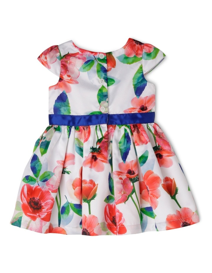 Cap Sleeve Poppy Print Dress With Rosette image 2