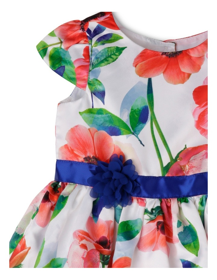 Cap Sleeve Poppy Print Dress With Rosette image 3