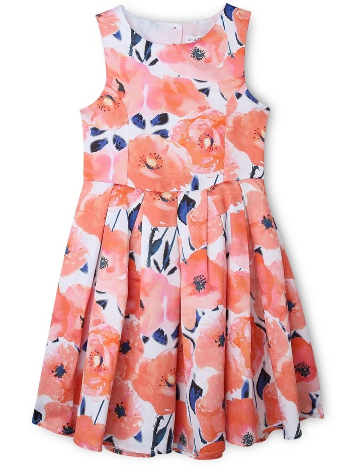 Poppy Print Dress With Cut Out Back. image 1
