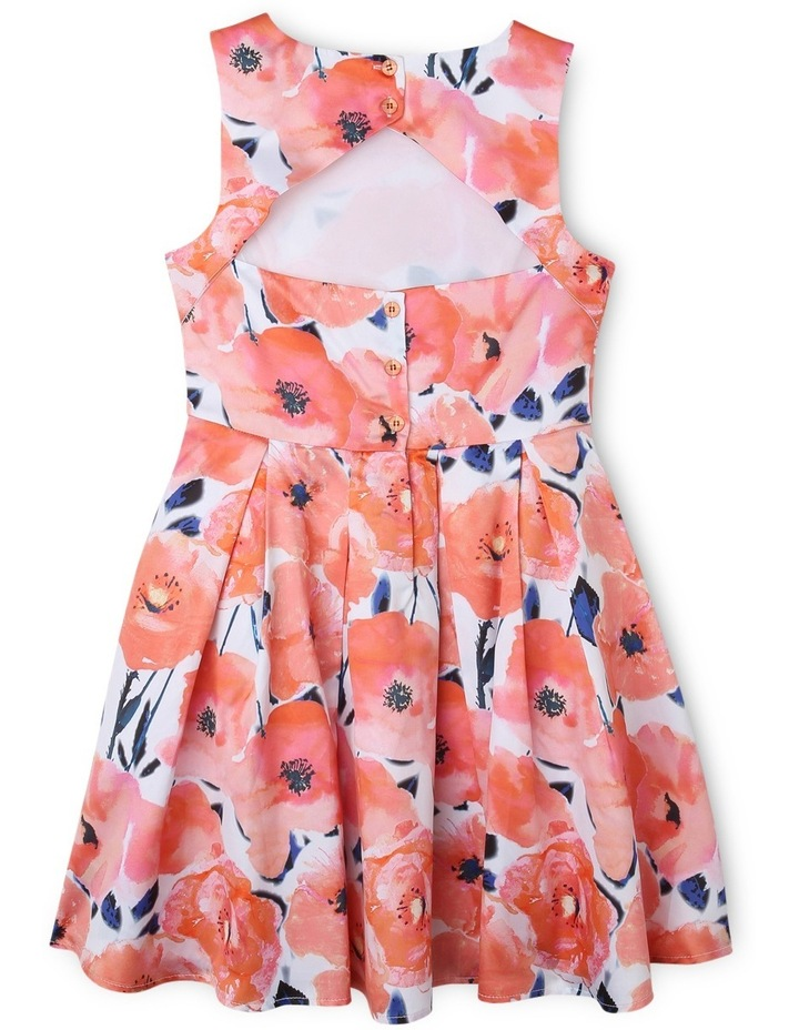 Poppy Print Dress With Cut Out Back. image 2