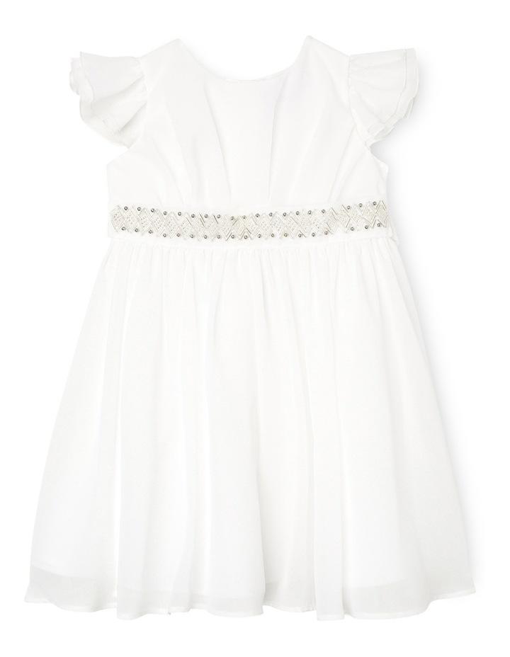 Flutter Sleeve Soft Flower Girl Dress With Beaded Waist. Toddler 0-2. image 1