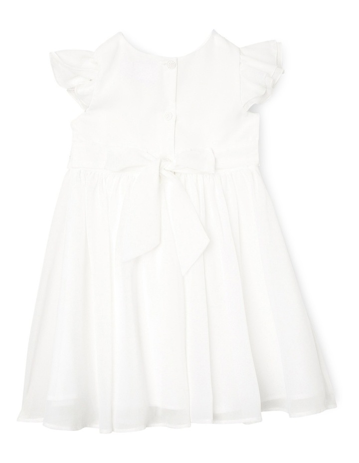 Flutter Sleeve Soft Flower Girl Dress With Beaded Waist. Toddler 0-2. image 2