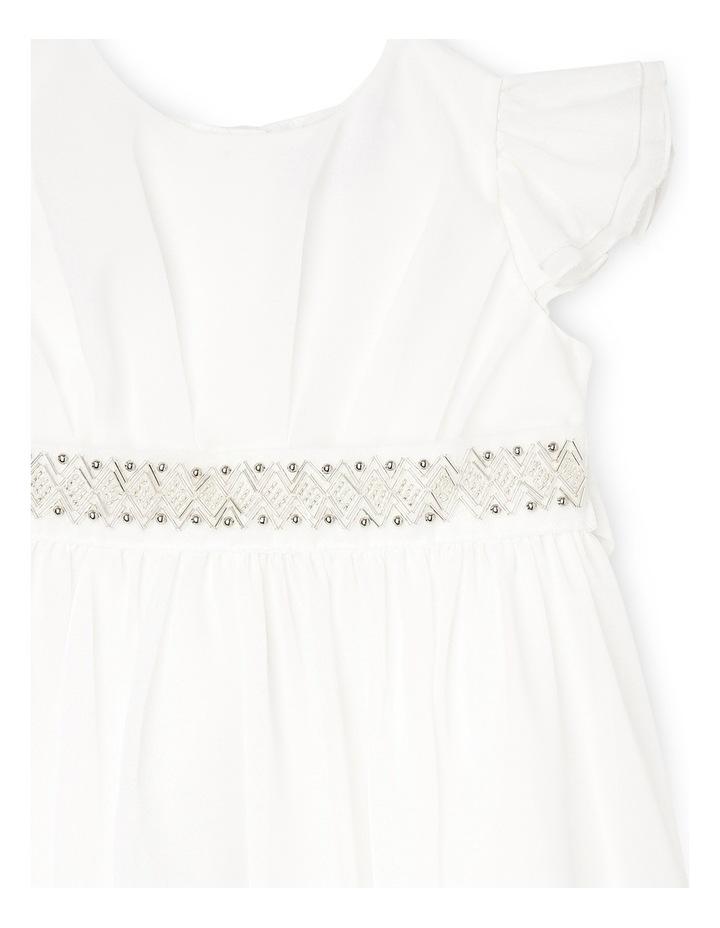 Flutter Sleeve Soft Flower Girl Dress With Beaded Waist. Toddler 0-2. image 3