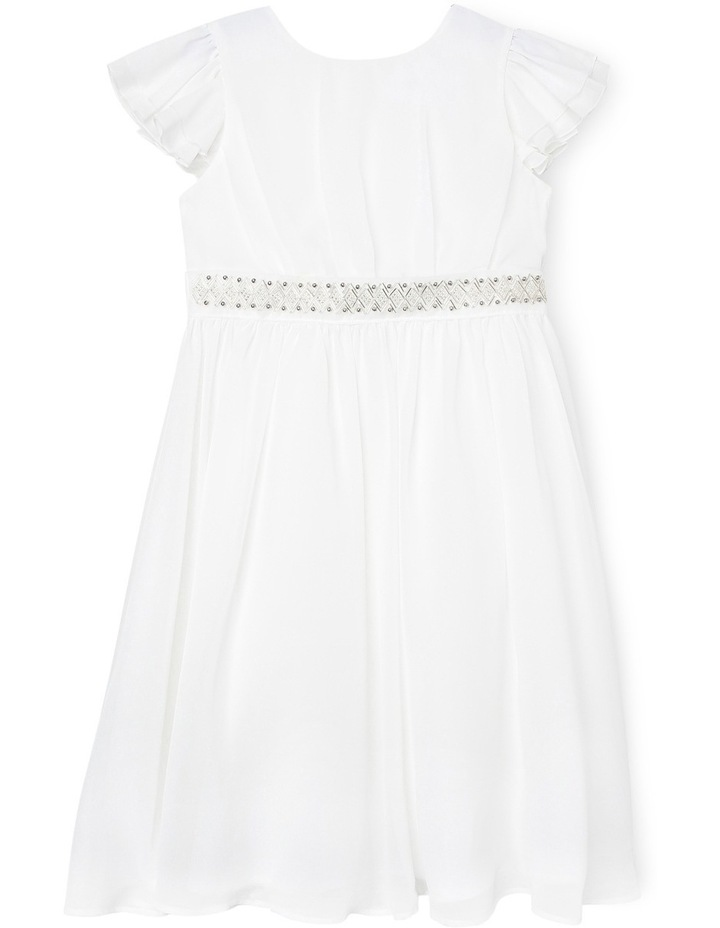Flutter Sleeve Soft Flower Girl Dress With Beaded Waist. Junior 3-8. image 1