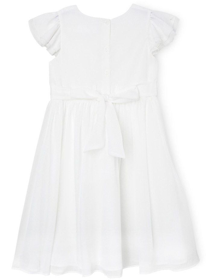 Flutter Sleeve Soft Flower Girl Dress With Beaded Waist. Junior 3-8. image 2