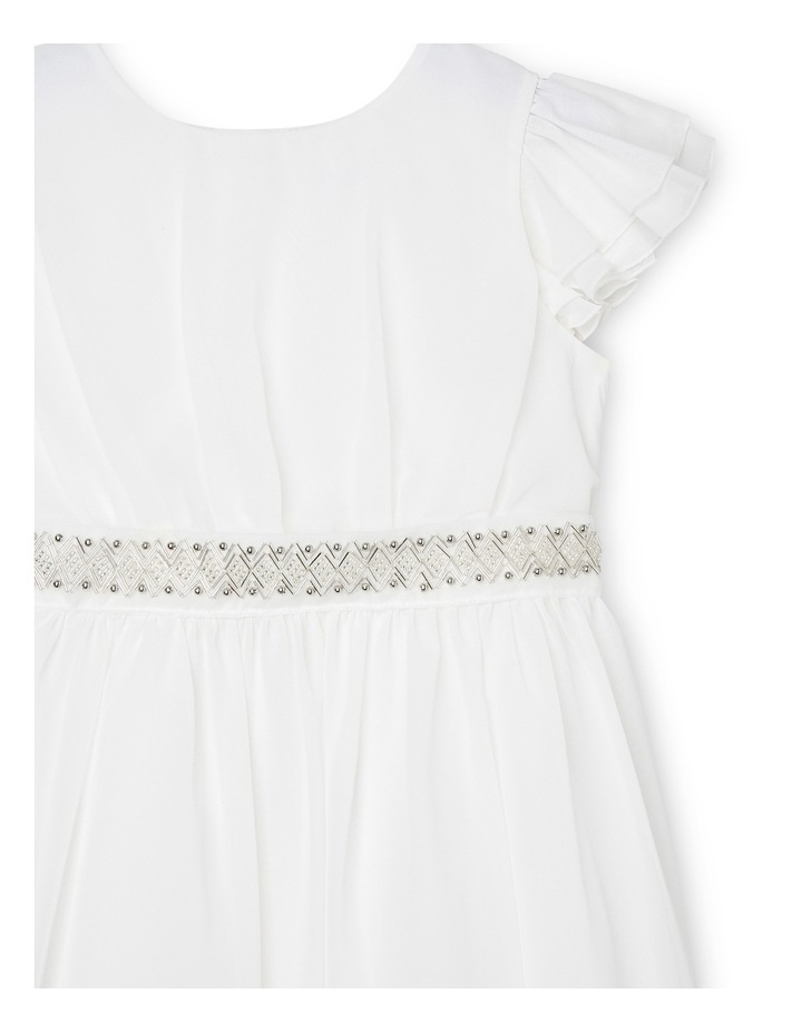 Flutter Sleeve Soft Flower Girl Dress With Beaded Waist. Junior 3-8. image 3