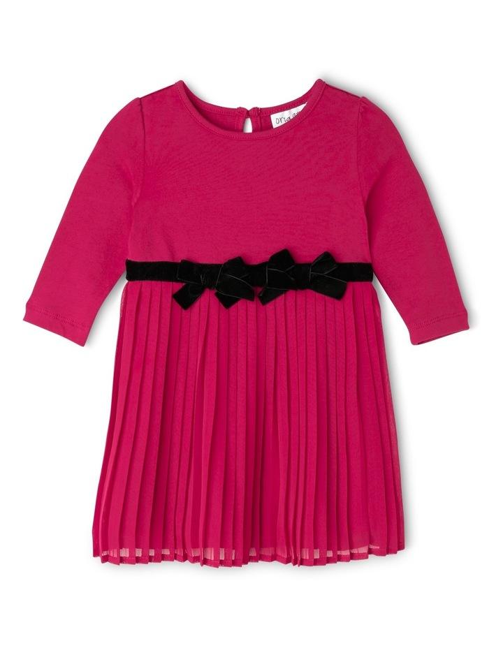 Pleat Skirt Dress With Velvet Bows. Cherry. Toddler 0-2. image 1