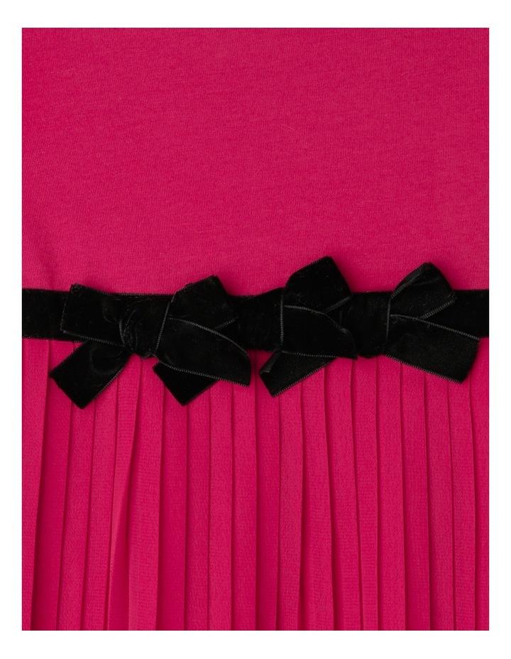 Pleat Skirt Dress With Velvet Bows. Cherry. Toddler 0-2. image 2
