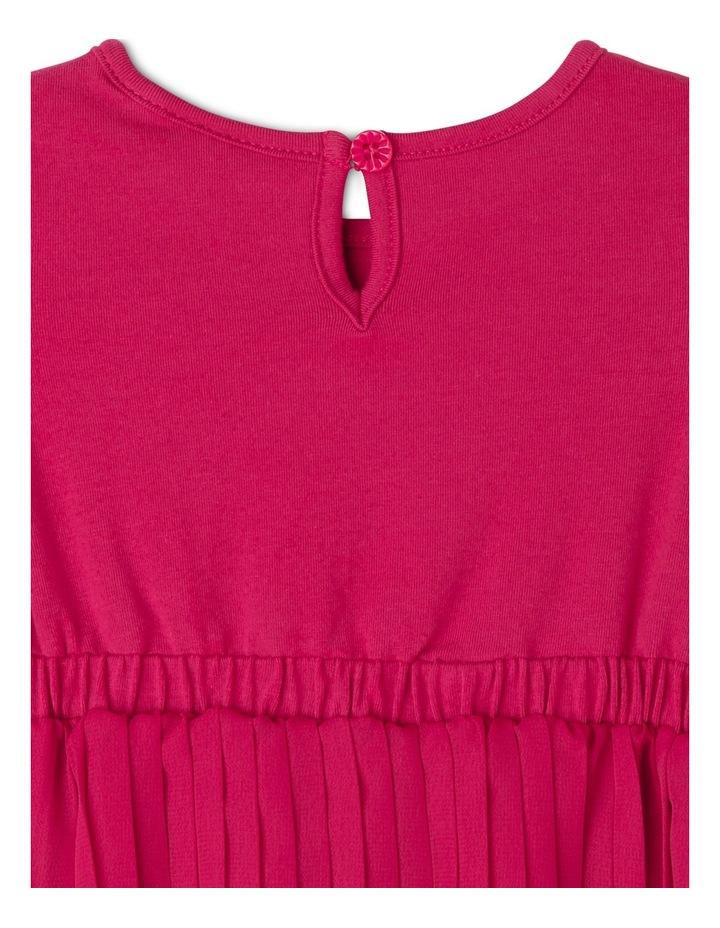 Pleat Skirt Dress With Velvet Bows. Cherry. Toddler 0-2. image 3
