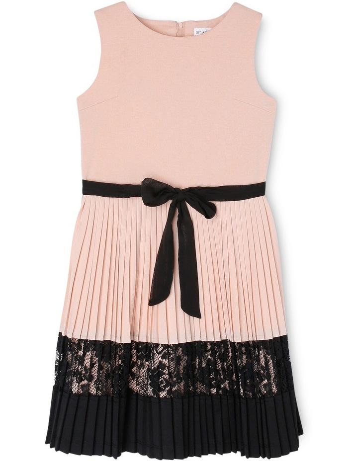 Pleated Knit and Lace Dress image 1