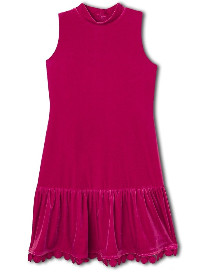 Sleeveless Velour Dress. Cherry. Senior 9-16. image 1