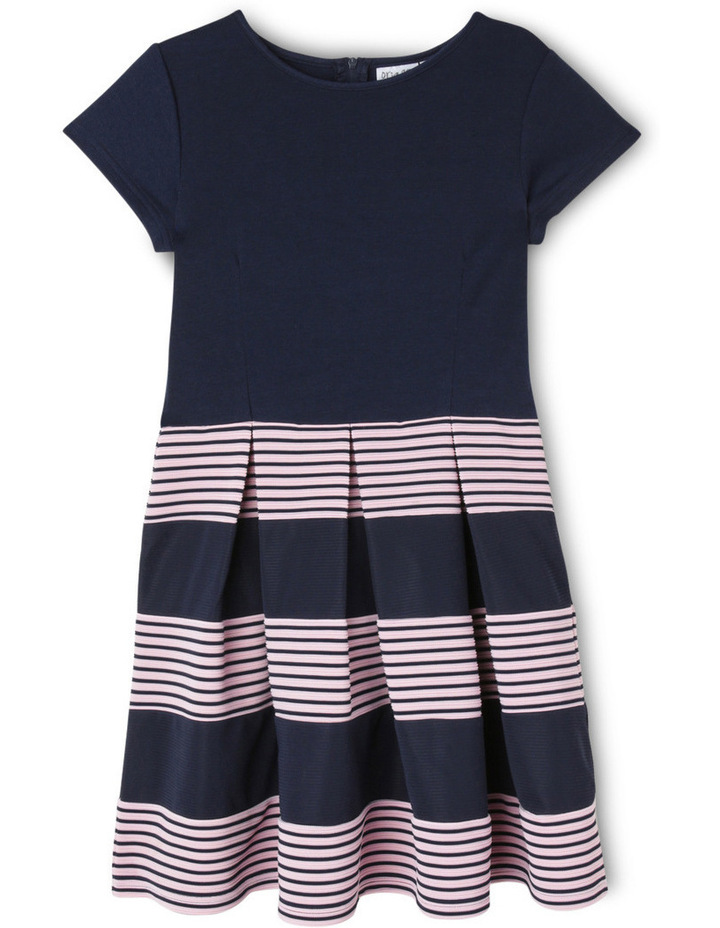 Ponti Knit Stripe Skirt Dress. Navy. Senior 9-16. image 1