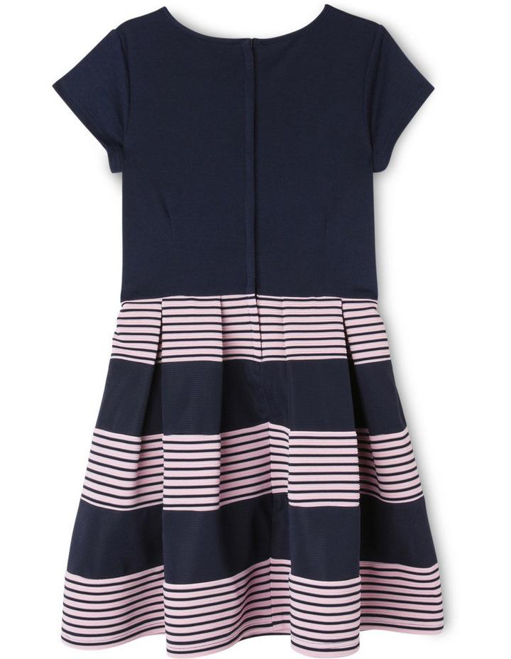 Ponti Knit Stripe Skirt Dress. Navy. Senior 9-16. image 2