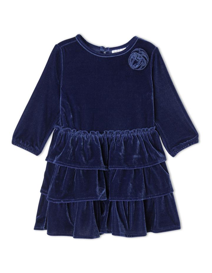 Velour Layer Dress. Toddler 0-2. Navy image 1