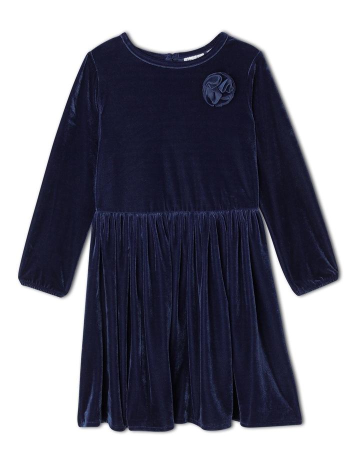 Velour Layer Dress. Junior 3-8. Navy image 1