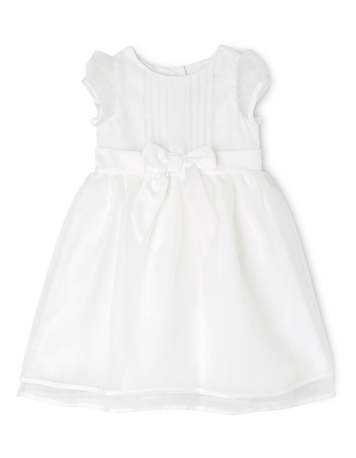 Satin Christening Gown with Bow and Organza Skirt image 1