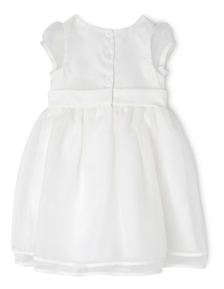 Satin Christening Gown with Bow and Organza Skirt image 2