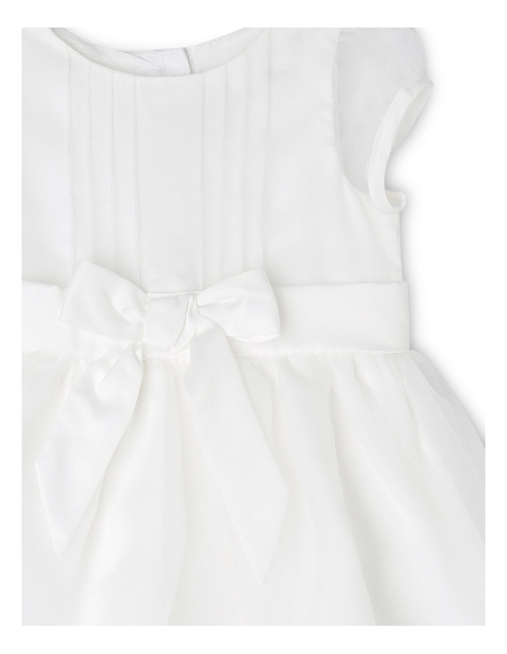 Satin Christening Gown with Bow and Organza Skirt image 3