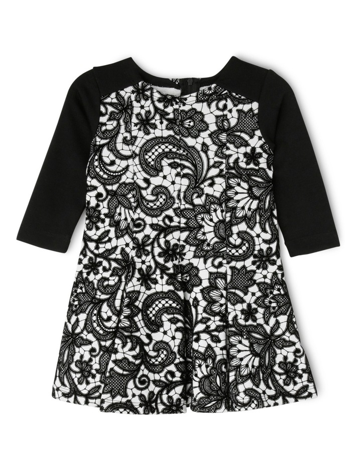 Black Flock Print Dress 0-2 image 1