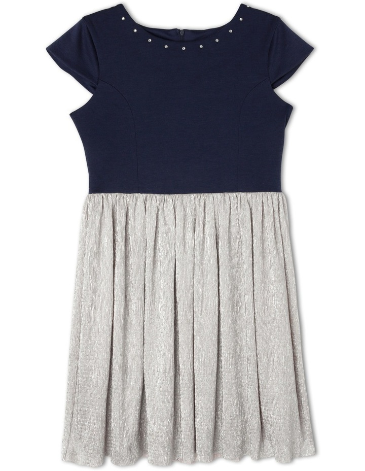 SG Navy Ponti Silver Crinkle Skirt Dress 9-16 image 1