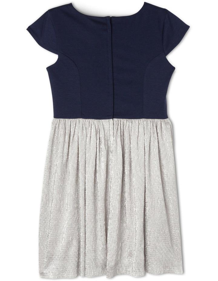 SG Navy Ponti Silver Crinkle Skirt Dress 9-16 image 2