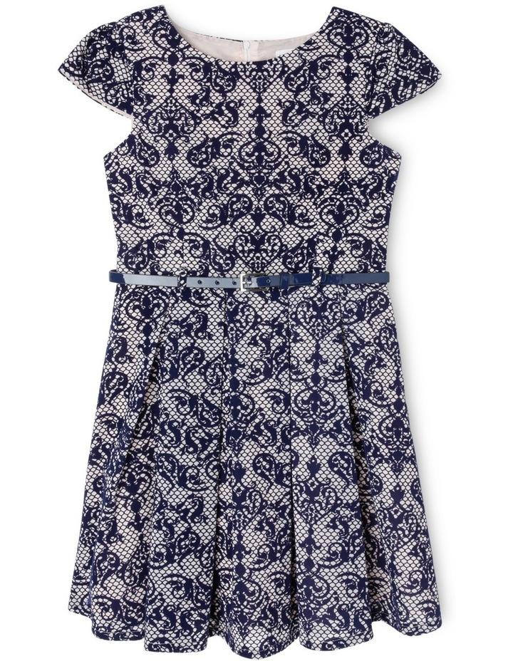 Navy Blush Flock Print Dress 9-16 image 1