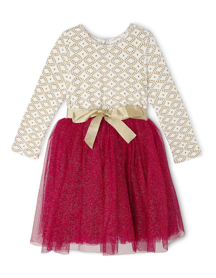 Gold Glitter Knit Burgundy Skirt Tutu 3-8 image 1