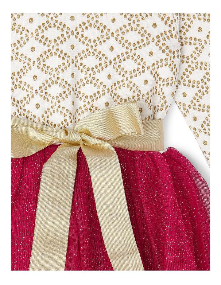 Gold Glitter Knit Burgundy Skirt Tutu 3-8 image 2