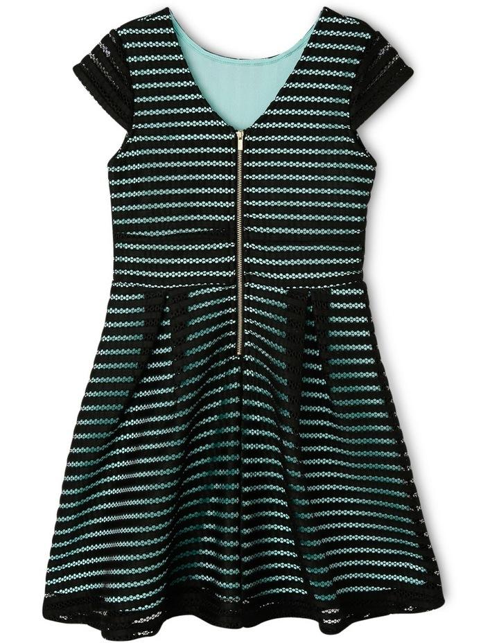 Textured Stripe Mesh Knit Skater Dress 9-16 image 2