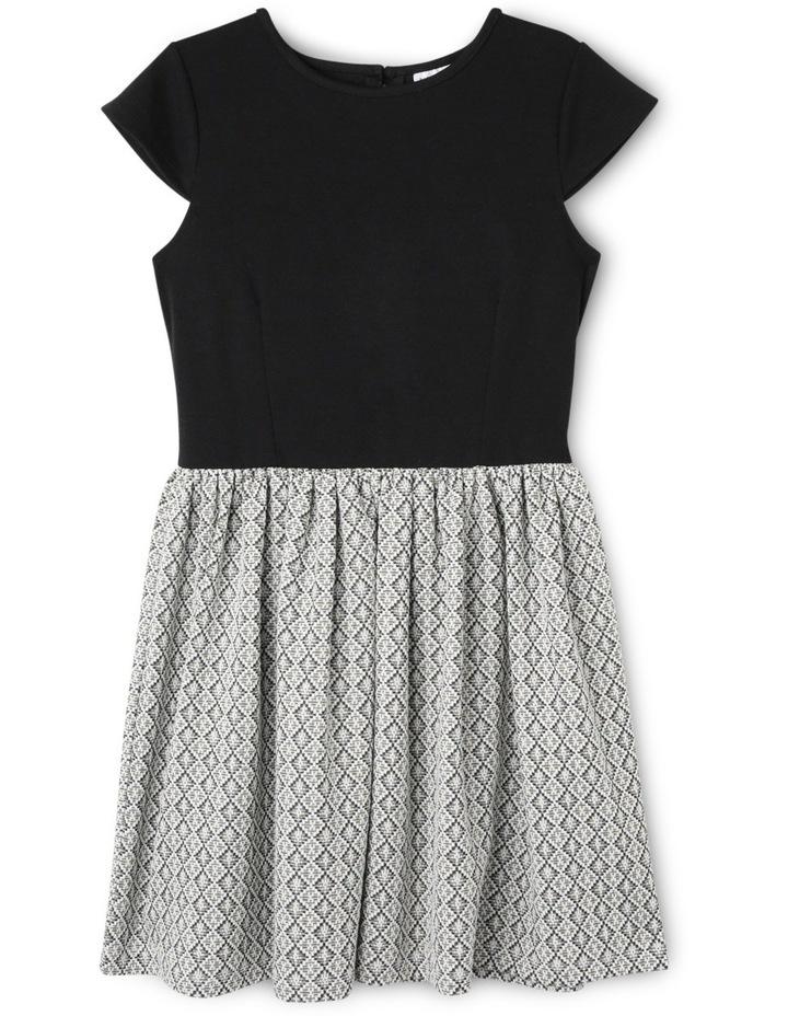 Sg Black Ponti Bodice Jacquard Skirt Dress 9-16 image 1