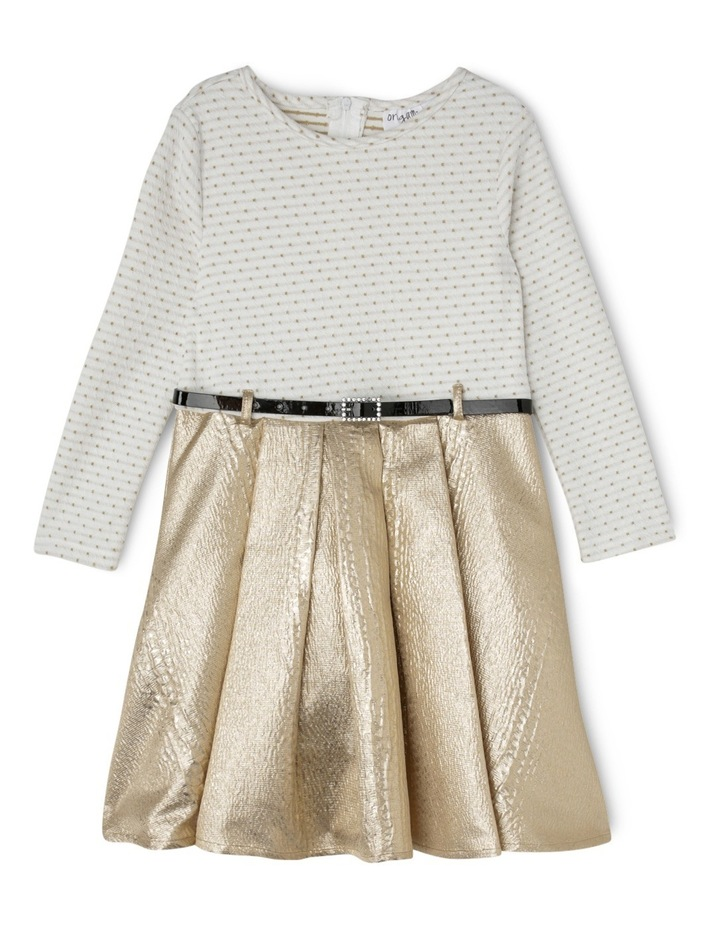 Gold Skirt Dress With Belt 3-8 image 1
