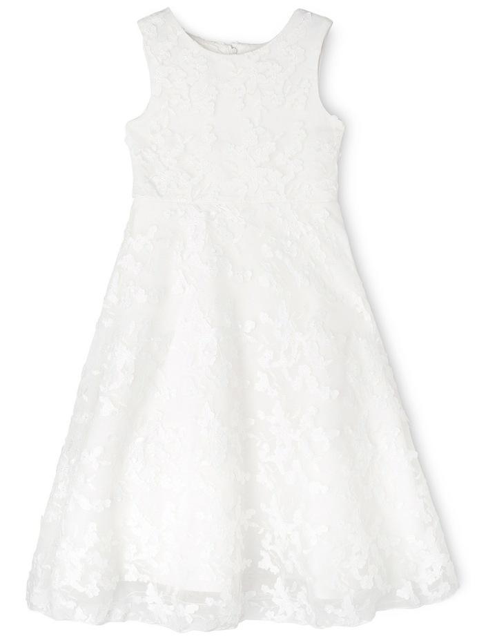 Long 3D Lace Flower Girl Dress. Junior 2-8. Ivory image 1