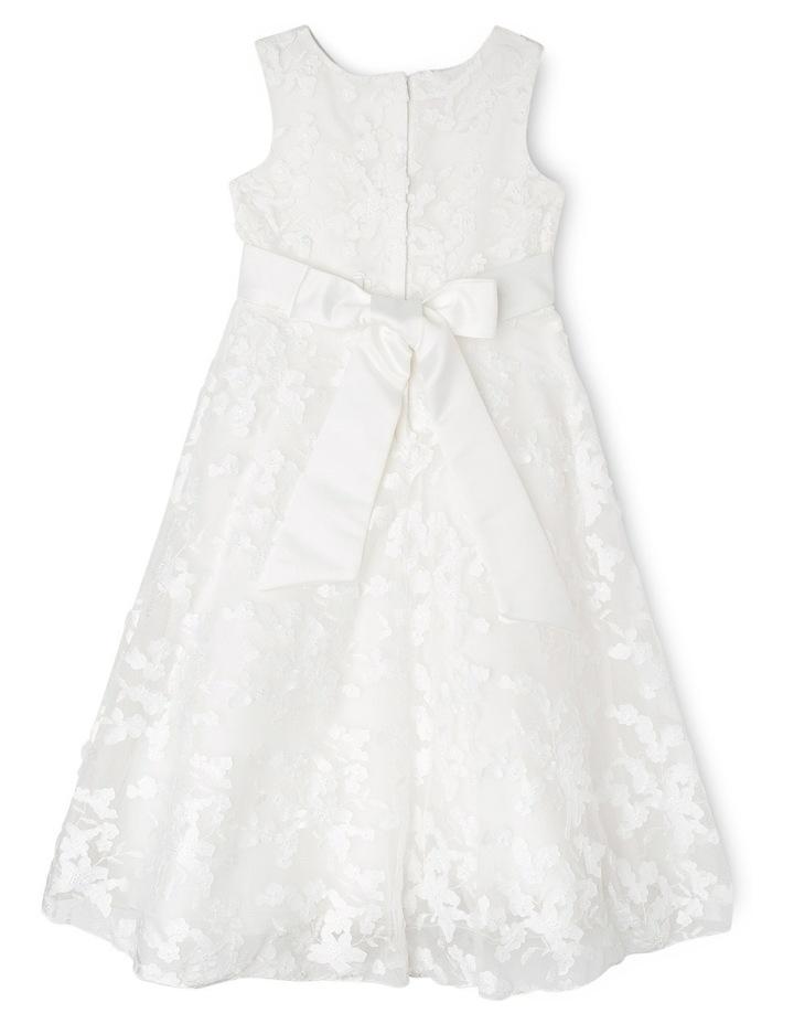 Long 3D Lace Flower Girl Dress. Junior 2-8. Ivory image 2